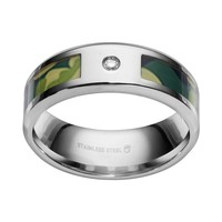 Diamond Accent Stainless Steel Camouflage Stripe Wedding Band - Men (Green)