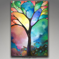 "Abstract landscape tree canvas giclee, 24x36 inch on stretched canvas, from my abstract painting ""Tree of Light"""