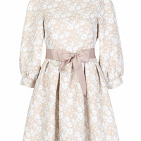 Beige Floral Bow Tie Long Sleeve A-Line Dress