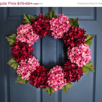 WREATH SALE EVENT Spring Hydrangea Wreaths - Valentine's Day Wreath - Spring Door Wreath - Outdoor Wreath - Housewarming Gift - Wedding Gift