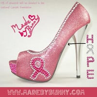 Pink Breast Cancer Awareness Inspired Heels with Pink Glitter / Rhinestones / Pink Ribbon and Customized Message