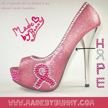 61728756211a4 Pink Breast Cancer Awareness Inspired Heels with Pink Glitter   Rhinestones    Pink Ribbon and Customized
