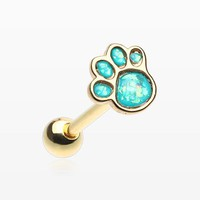 Golden Adorable Paw Print Opalescent Sparkle Barbell Tongue Ring