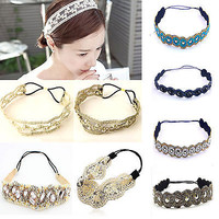 Fashion Women's Lace Elastic Headband Hairband Hair Band Head Wrap Accessories