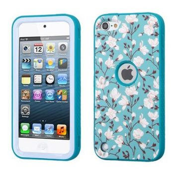 iPod Touch 6th Gen Case, iPod Touch 5th Gen Case, Luxca (Tm) iPod Touch (5th Generation) (6th Generation) Dual Layer Verge Hybrid Soft Silicone Cover Hard Plastic Case + Clear LCD Screen Protector + Stylus Pen (White Sakura / Teal Verge)