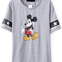 Mickey Print Sequined Grey T-Shirt