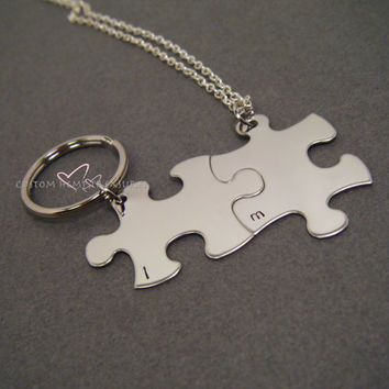 Minimalistic Puzzle piece set, Customizable puzzle piece, Couples Gift, Long Distance Relationship, 1 keychain 1 necklace, Stamped Keychains