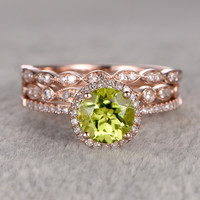 7mm Round Peridot Wedding Set Diamond Bridal Ring 14k Rose Gold Marquise Eternity Band