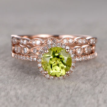 7mm round peridot wedding set diamond bridal ring 14k rose gold marquise eternity band - Peridot Wedding Rings