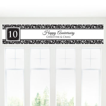 Modern Floral Black & White - Any Year - Personalized Wedding Anniversary Banner