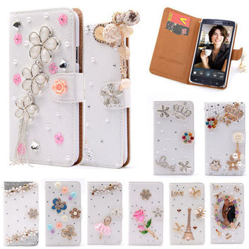 S3 Luxury Wallet Stand Flip PU Leather Diamond Girl Bowknot Cosmetic Mirror Case For Samsung Galaxy S 3 III I9300 Handmade Cover