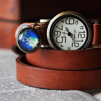 Earth Pendant Brown Leather Wrap Watch, Leather Bronze Wrist Watch, Double Side Planet Charm
