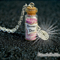Sparkly Dirt Magical Necklace with  Swirl Water Portal Charm, Captain HOOK, Cora The Queen of Hearts, Once Upon a Time,Life is the Bubbles