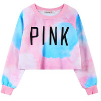 2016 Hot Sexy Crop Women Hoodies PINK Letters Printed Dazzle Colour Female Cotton Short Hoodies Thin Casual Sweatshirts
