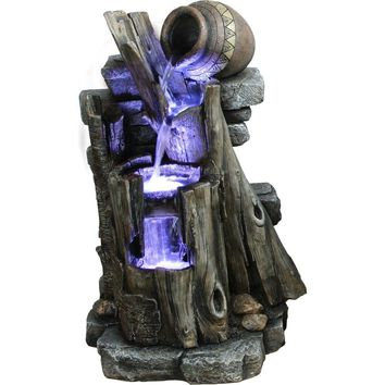 Yosemite Home Decor 3-Tiered Steps with Vase Polyresin Fountain-CW85083 at The Home Depot