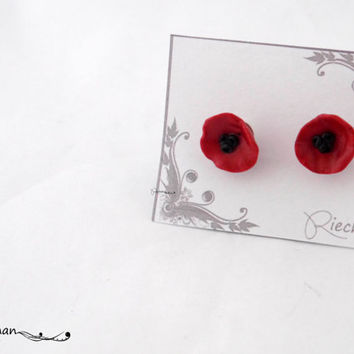 Poppy earrings studs, red earrings, red flower earrings, red poppy, polymer clay flower, floral earrings, wizard of oz jewelry, for her