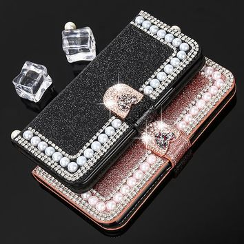 Luxury Pearl Flip Leather Case For iPhone 7 7 Plus 6 6S Plus 5 5S SE Case Women Girl Glitter Bling Diamond Wallet Cover Stands