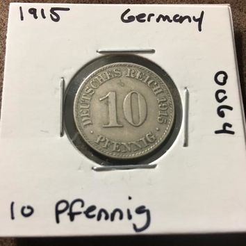 1915 German Empire 10 Pfennig Coin 0064
