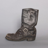 SANTA ROSA Black Motorcycle BOOTS / Steel Toe Black Leather Herman Engineer Boots