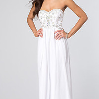 Beaded Strapless Prom Dress