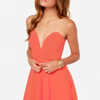 All Good Things Strapless Coral Dress