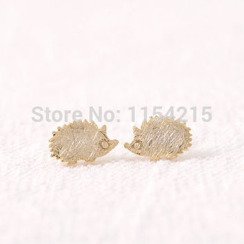 2016 New Fashion Gold Silver and Rose gold Hedgehog Stud Earrings cool animal earring EY-E012