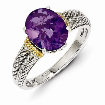Sterling Silver Gold Amethyst Ring