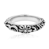Retro flower male lady finger ring appendix titanium jewelry SA332