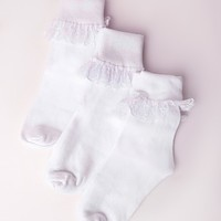 Missguided - 3 Pack Ankle Socks Lace White