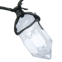 Amulet Brazilian Large Rough Rock Quartz Healing Crystal Point Wand Pendant Necklace