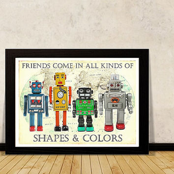 ROBOT Art A3 PRINT Retro Robot print Quotes for KIDS Room Wall decor Instant Download Printable nursery art geeky baby retro poster