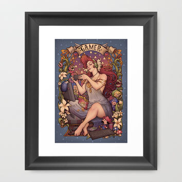 Gamer girl Nouveau Framed Art Print by Medusa Dollmaker