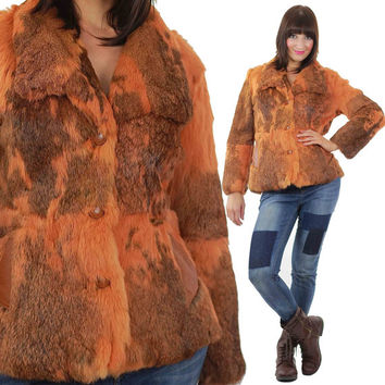 Vintage Boho fur jacket Brown rabbit fur jacket Hippie fur jacket Orange fur coat Boho fur coat rabbit fur coat Bohemian fur jacket M Medium