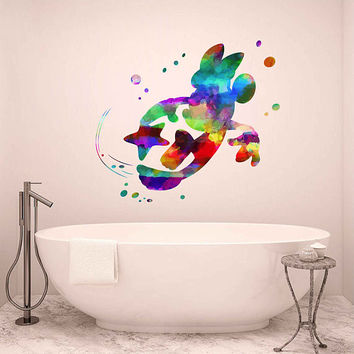 kcik1994 Full Color Wall decal Watercolor Character Disney Minnie Mouse Character Disney children's room Sticker Disney