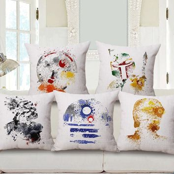 7 Designs Watercolor Ink Painting Chair Throw Pillow Abstract Star Wars Icons Graffiti HandPainting Splash-ink Style Cushions