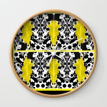 black whitr abstact Wall Clock by violajohnsonriley