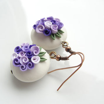 Rustic lilac rose earrings in a vintage style handmade from polymer clay