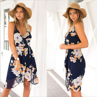 Dark Blue Floral Print Halter Chiffon Dress