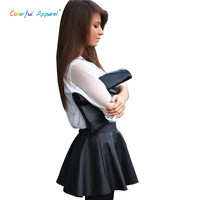 Colorful Appare New Fashion Women Clothes Elastic High Waist PU Leather A-Line Pleated Skater Party Mini Skirt Black CA14