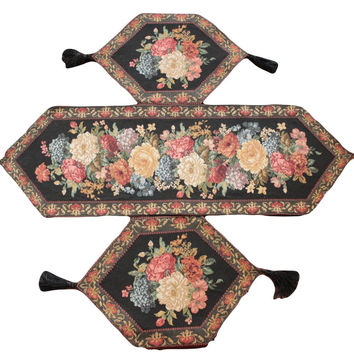 Tache Set of 3 Colorful Country Rustic Floral Midnight Awakening Table Runner Set