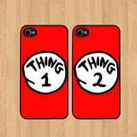 Red Thing 2 Dr Seuss Best Friends iphone 4 /4S Case Soft Rubber - Set of Two Cases (Black or White ) SHIP FROM CA