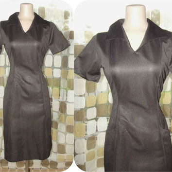 Vintage 60s Sexy Rockabilly Waitress Uniform Dress Espresso Brown 10 MOD Diner Chic ANGELICA