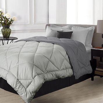 Reversible Quilted Comforter Fit All Seasons Soft Smoky Grey Duvet Twin Full/Queen King Duvet Insert with Corner Ties