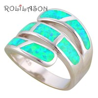 ROLILASON Gorgeous Rings for Women Green Fire Opal High Quality 925 Silver Fashion Jewelry Rings USA Size #6#7#8#9#10 OR871