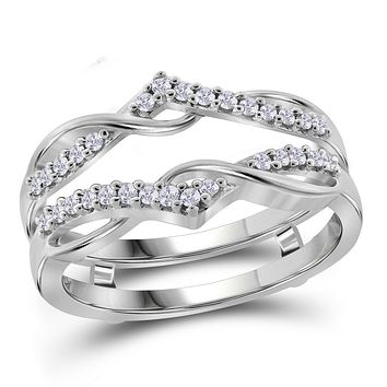 10kt White Gold Womens Round Diamond Wrap Ring Guard Enhancer Wedding Band 1/4 Cttw