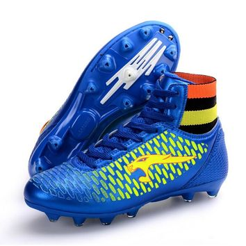 2017 Men High Ankle Soccer Shoes FG Football Boots Boys Kids Sport  Soccer Cleats Football Sock Boots Size 33-44 S29