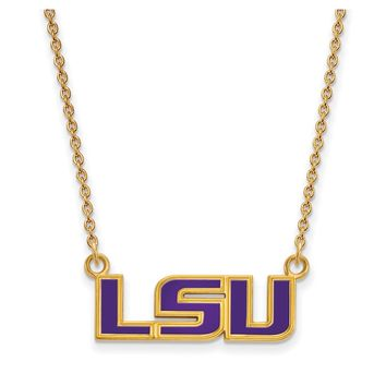 NCAA 14k Gold Plated Silver Louisiana State Sm Enamel Pendant Necklace