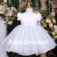 Princess Short Sleeve Flower Girl Dress, New Years Dress, Wedding Flower Girl Dress, Online Flower Girl Dress