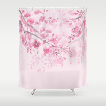 Cherry Blossom Pink Shower Curtain,  Sumi Watercolor  - floral, pink spring ,  bathroom decor