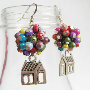 "$13.00 Flying House Earrings Inspired by ""Up"" by CissyPixie on Etsy"